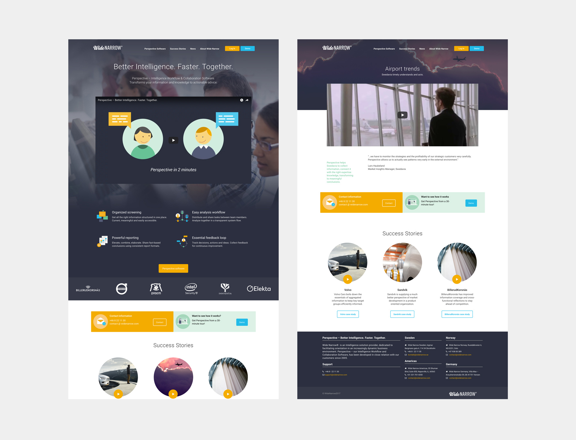 Digital design for Wide Narrow website and software user interface. Material from the process. Full screens showing Wide Narrow start page along with case presentation layout.