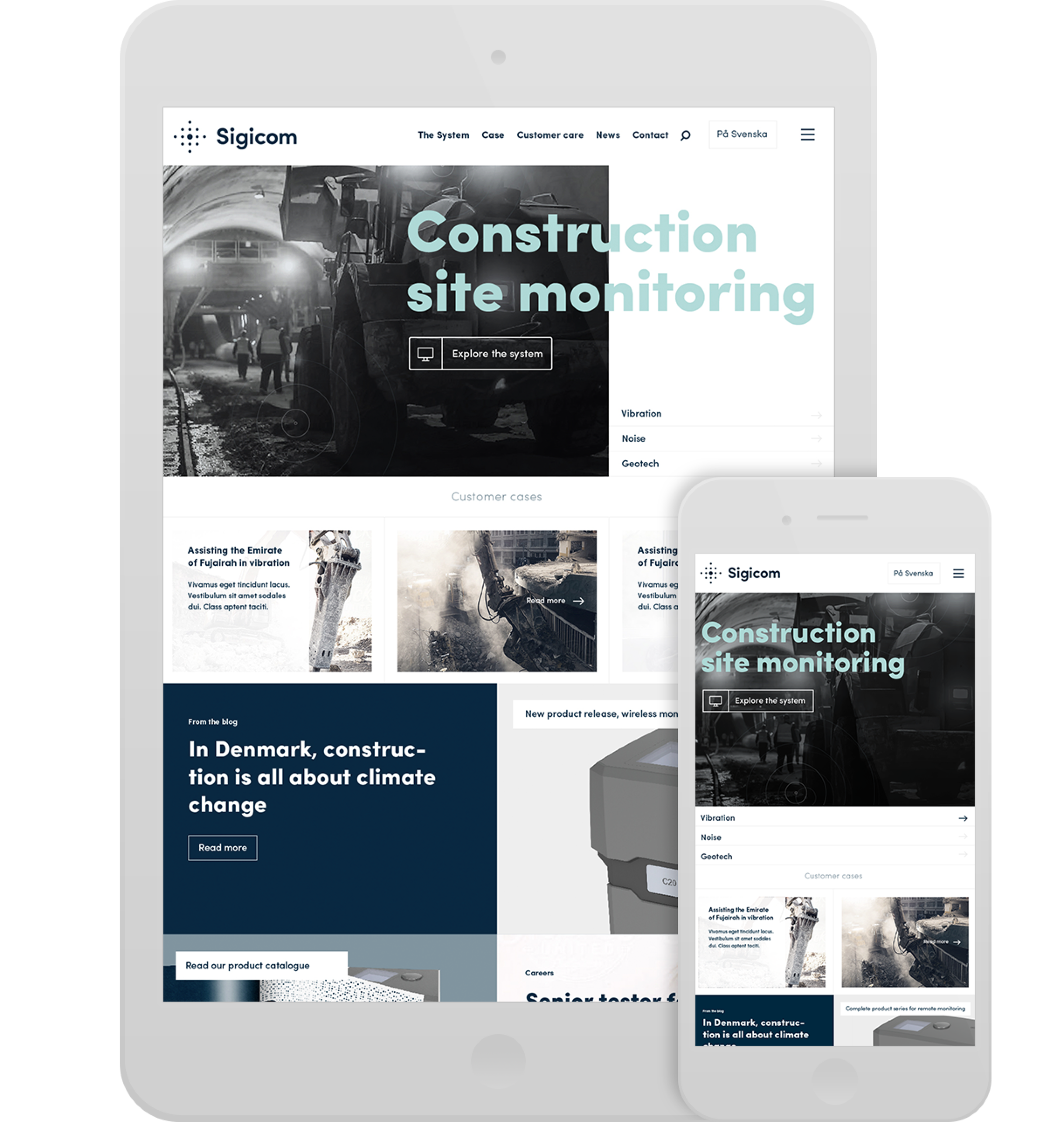 Digital strategy and design for Sigicom brand. Material from the process. Sigicoms web site mounted in Tablet and smartphone.