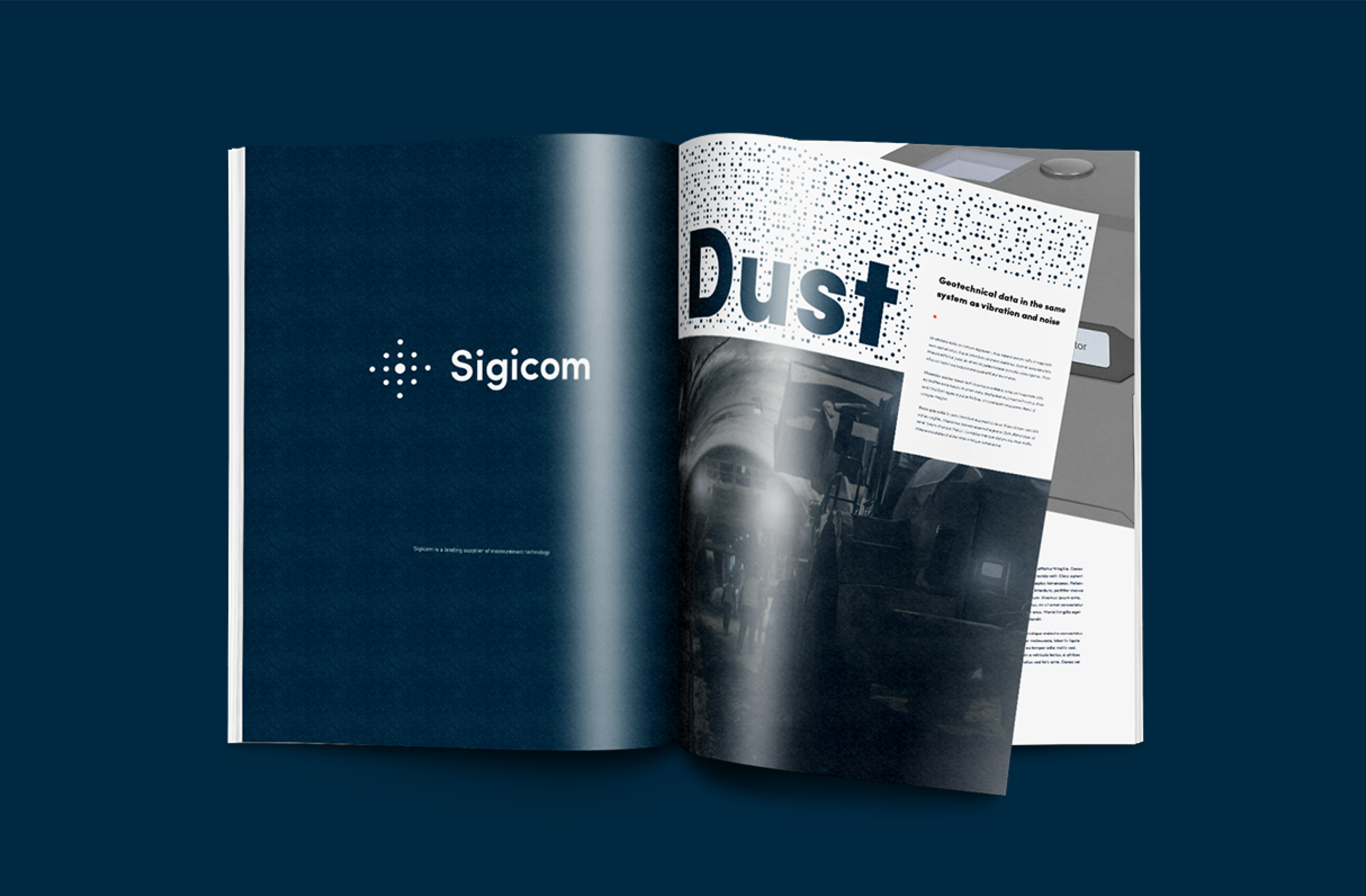 Digital strategy and design for Sigicom brand. Material from the process. Application test, the new brand identity in catalogue