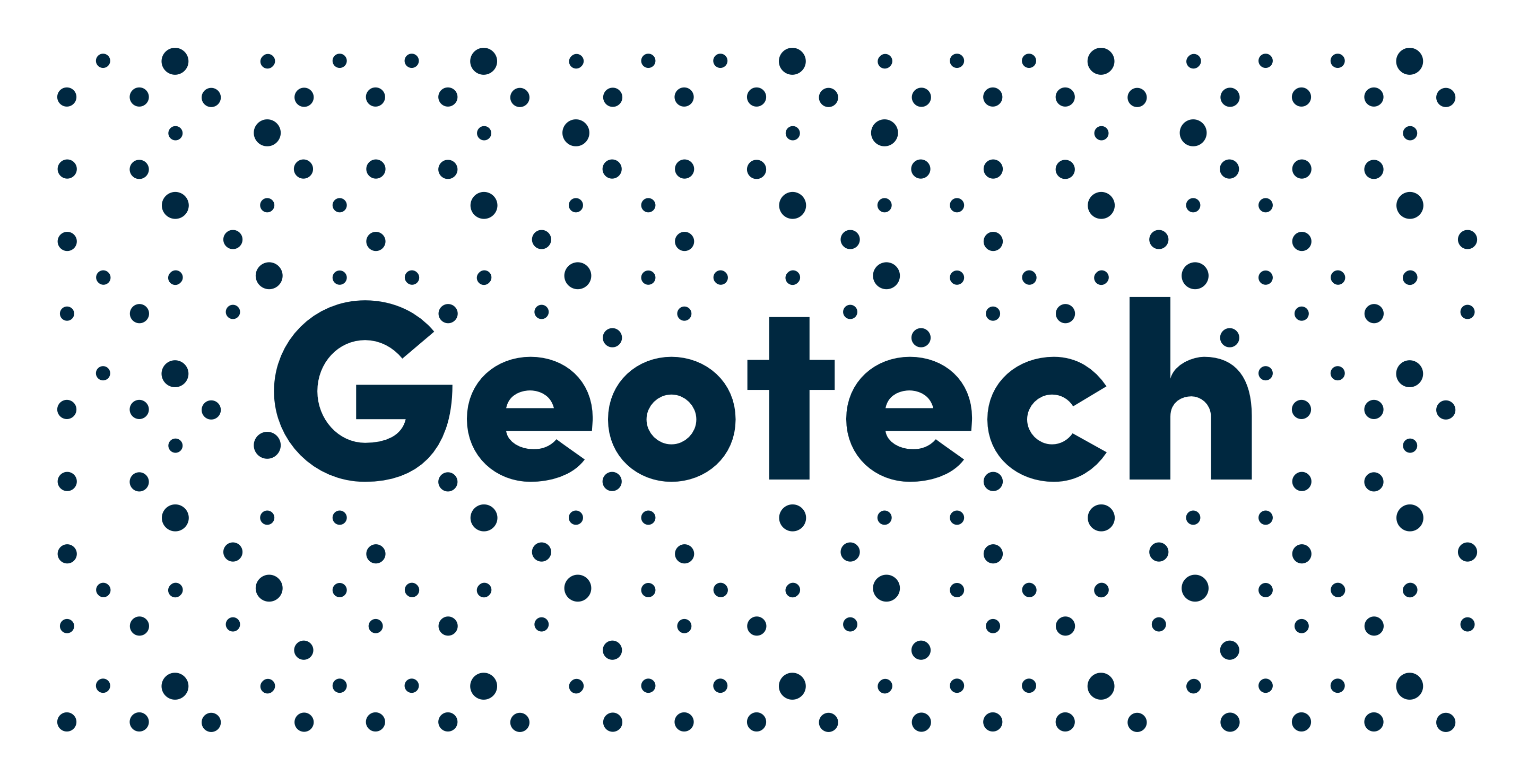 Digital strategy and design for Sigicom brand. Material from the process. Geotech in blue with pattern design on white background.