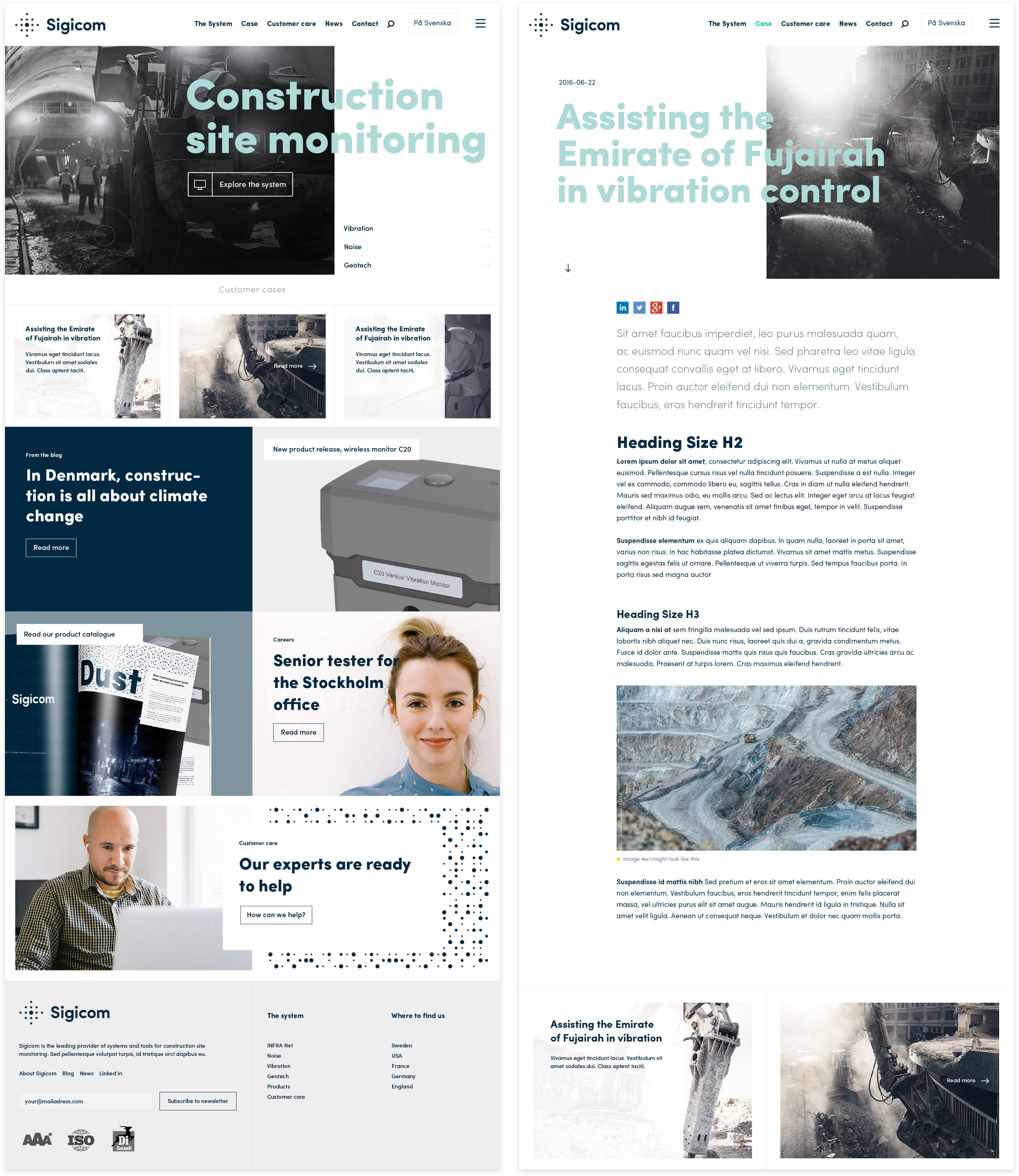 Digital strategy and design for Sigicom brand. Material from the process. Full screens showing Sigicoms start page along with a long read article layout.