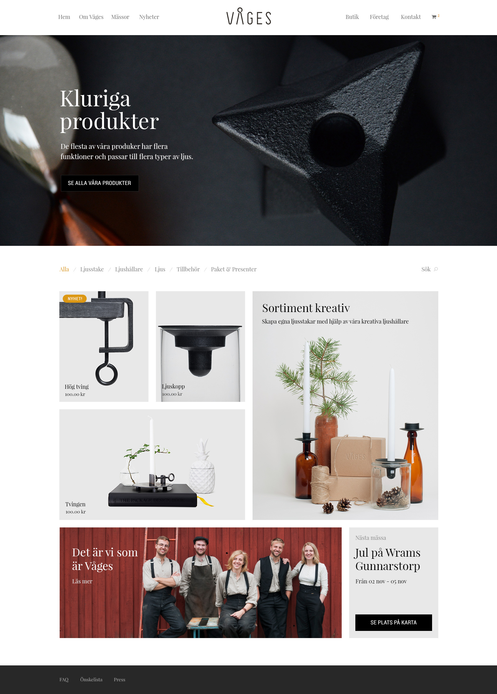 Brand Design and E-commerce website for Våges. Material from the process. UI showing front page for the Våges e-commerce web site.