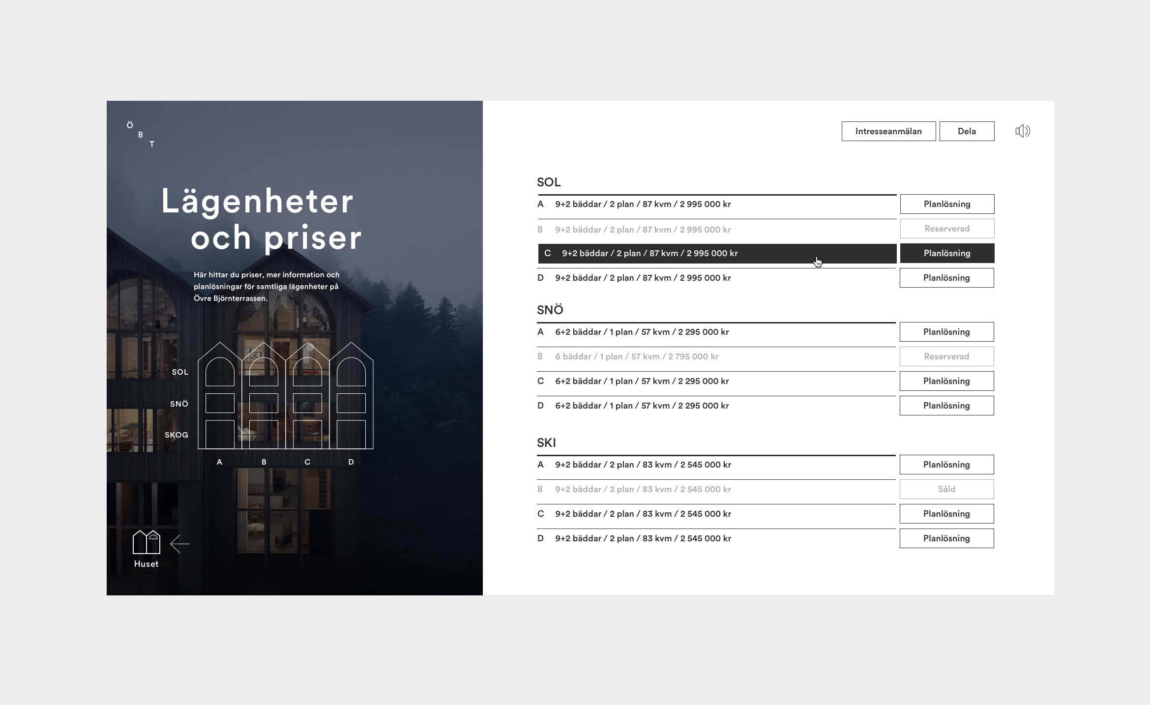Digital design for Fahlander Architects and Övre Björnterrassen. Material from the process. UI design showing presentation of apartments for sale