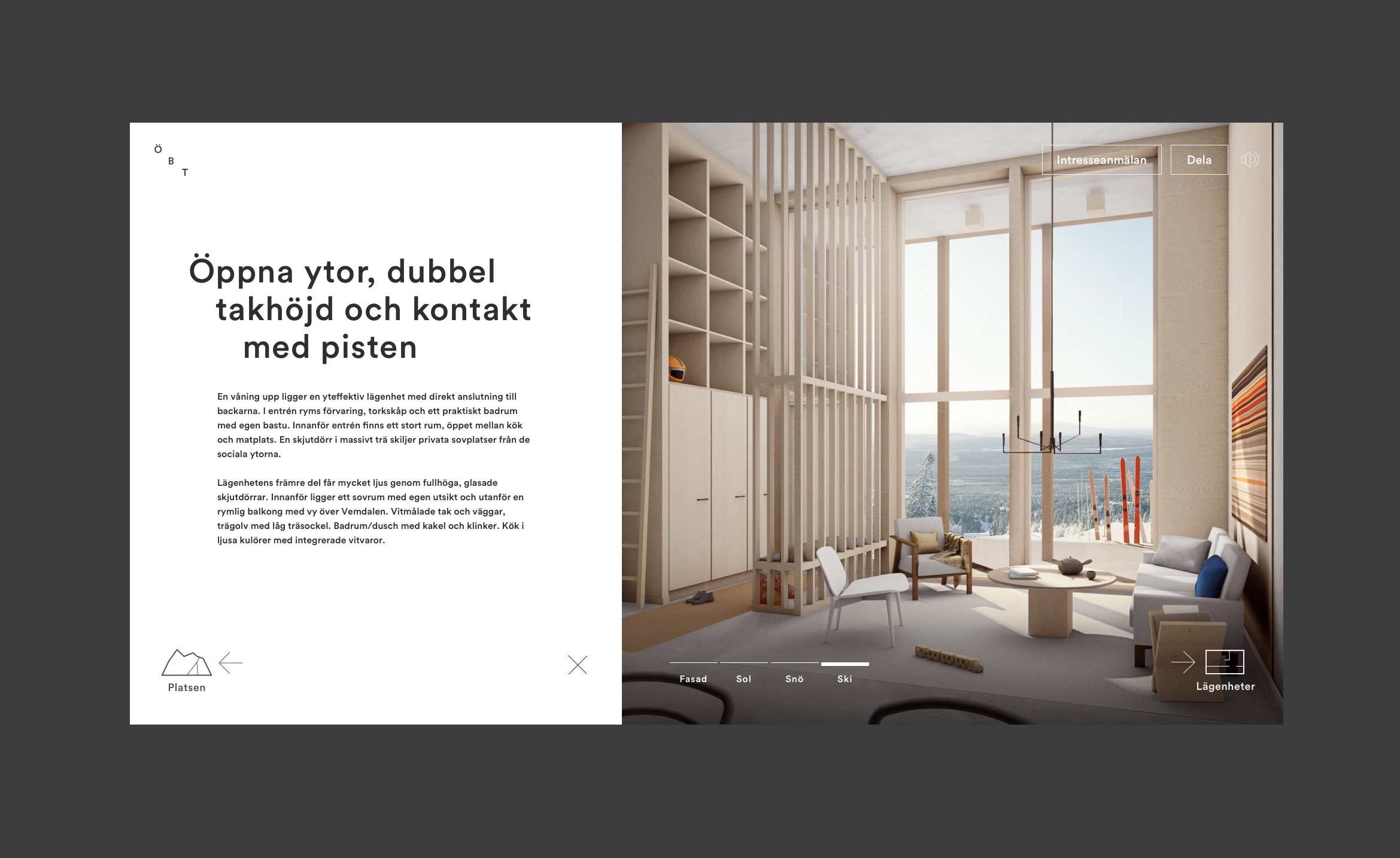 Digital design for Fahlander Architects and Övre Björnterrassen. Material from the process. UI design showing navigation and typography on 3D rendered image of interior.