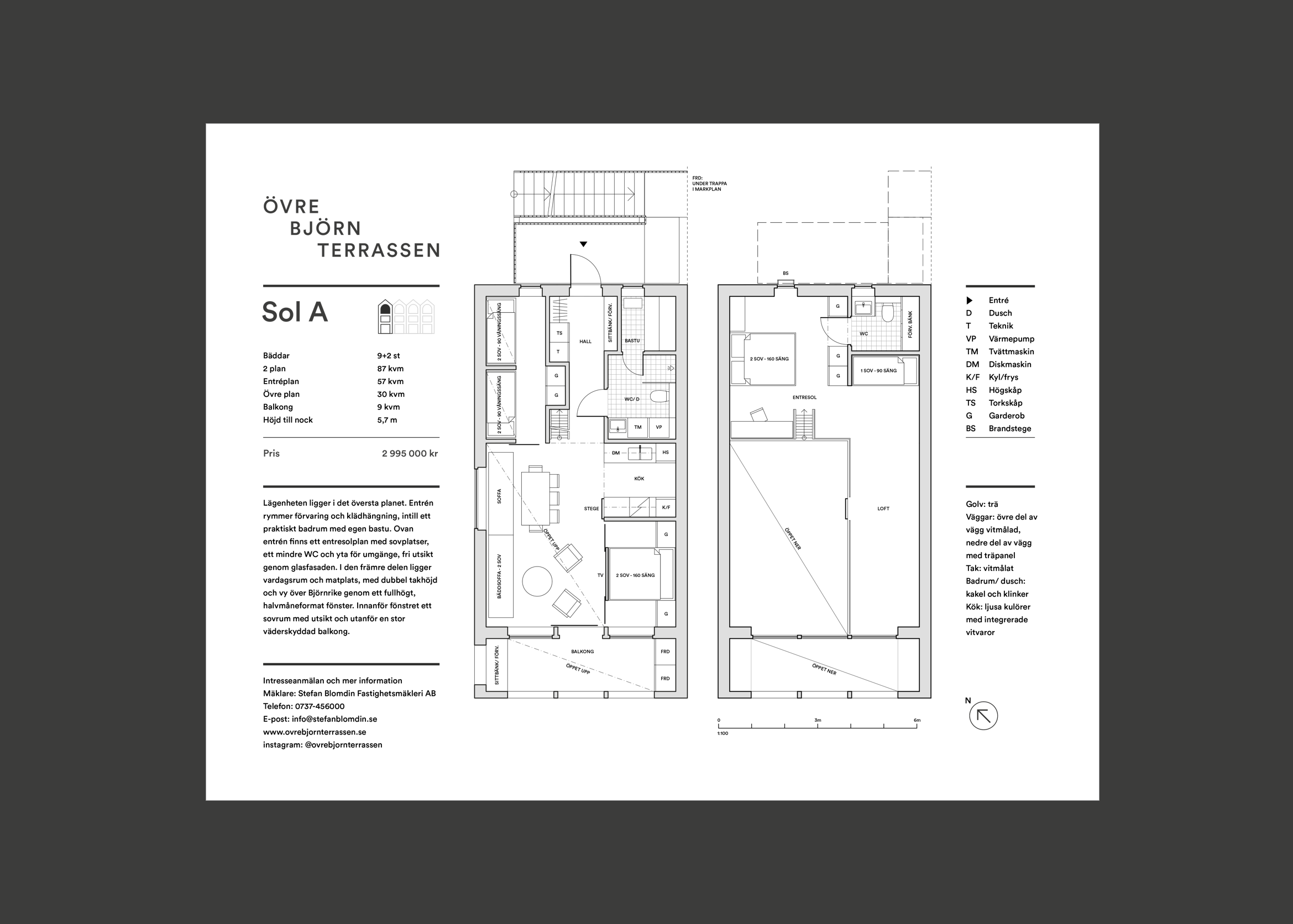 Digital design for Fahlander Architects and Övre Björnterrassen. Material from the process showing blueprint and typography for apartments.