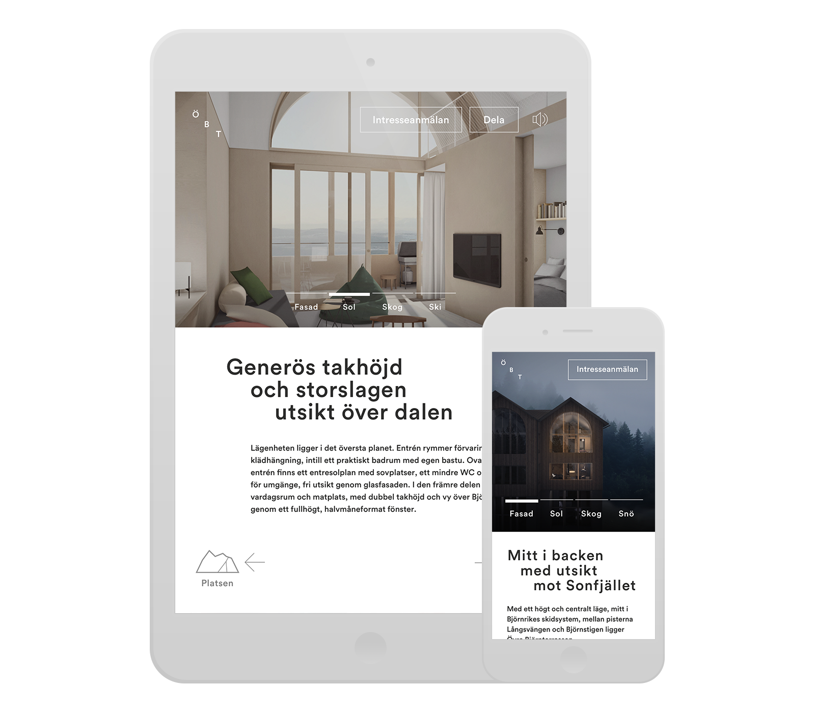 Digital design for Fahlander Architects and Övre Björnterrassen. Material from the process. The web site mounted in tablet and smartphone.