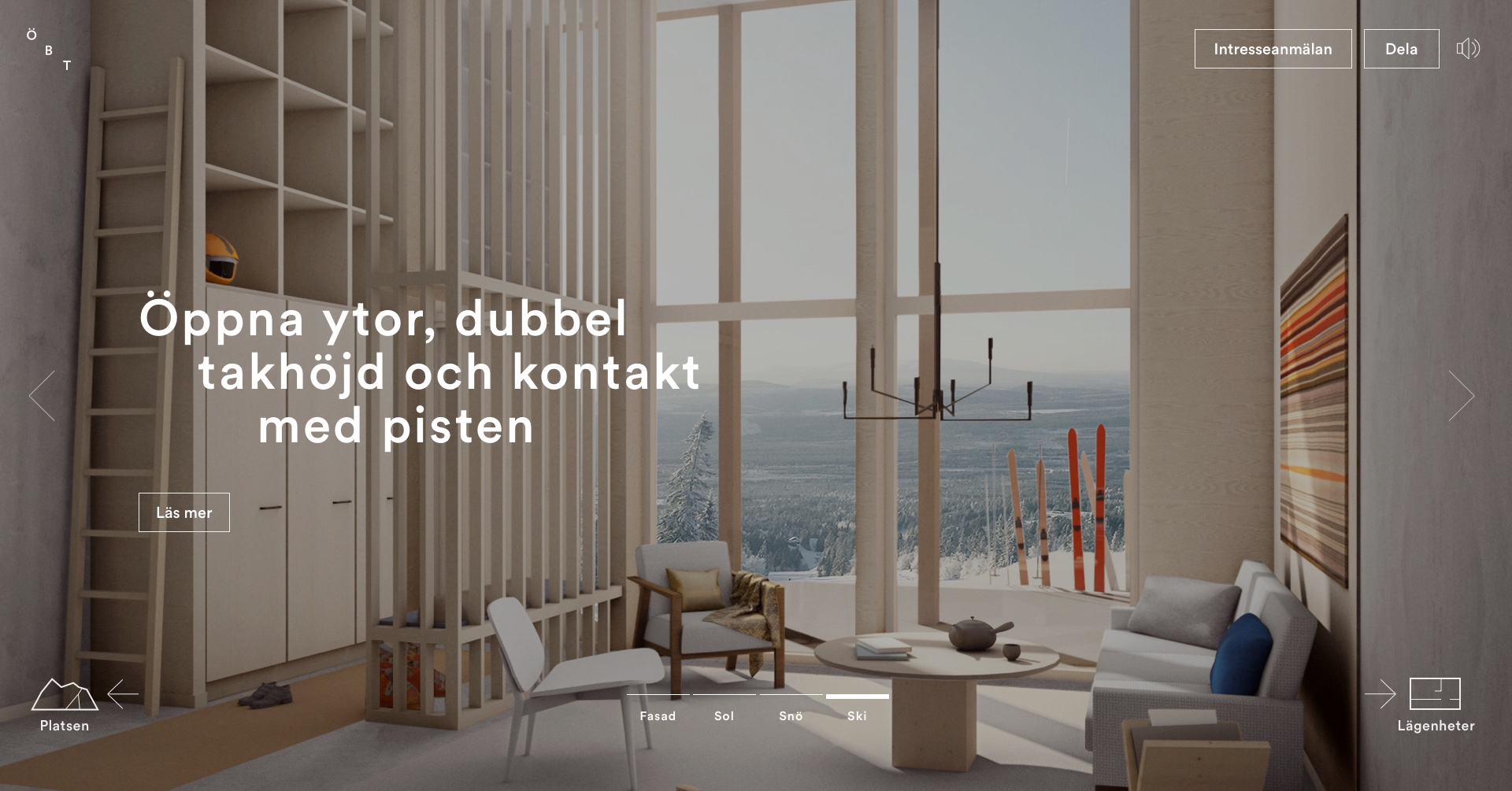 Digital design for Fahlander Architects and Övre Björnterrassen. Material from the process. UI design showing the navigation interface on 3D rendered image of interior.