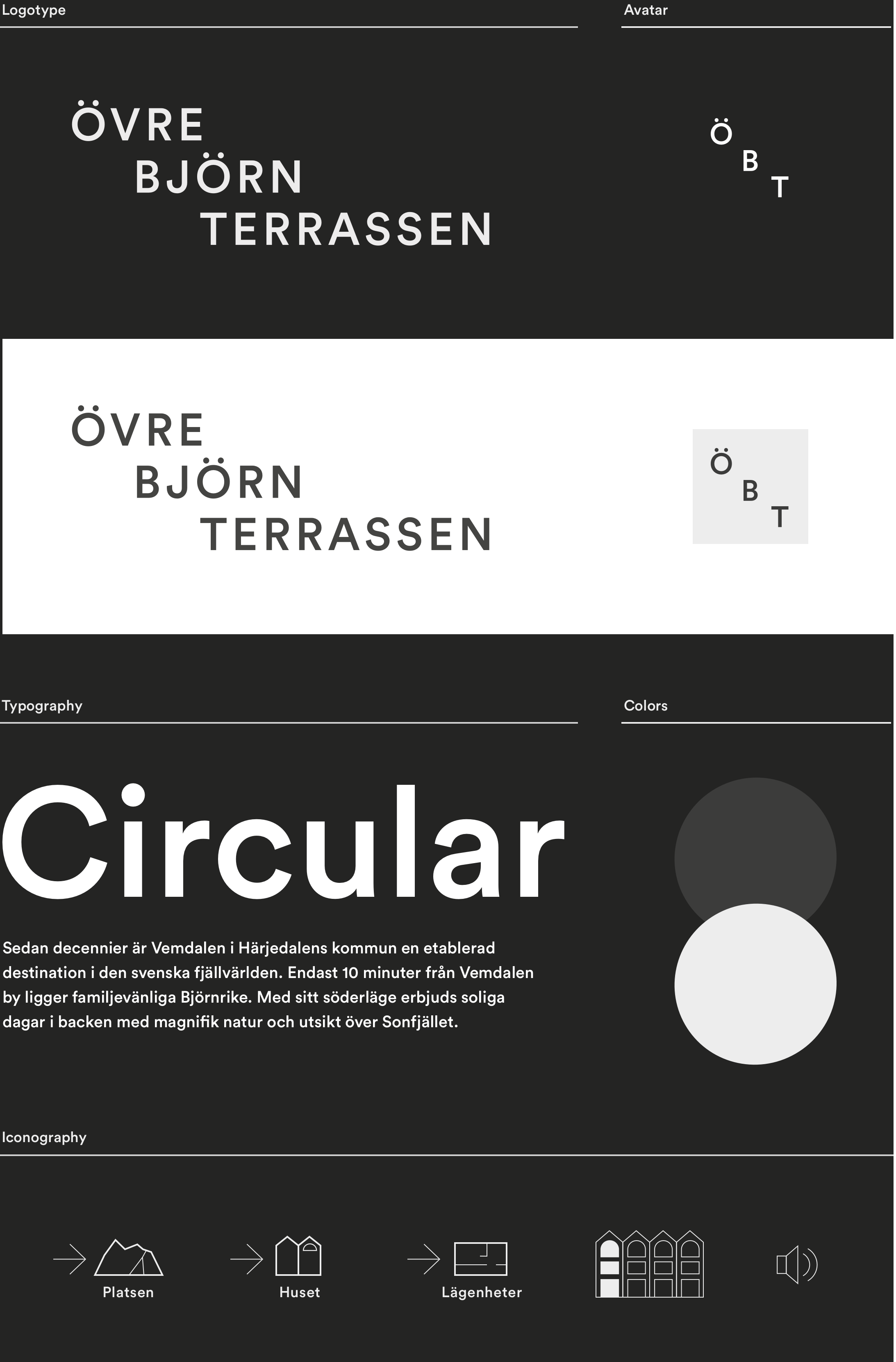 Digital design for Fahlander Architects and Övre Björnterrassen. Material from the process showing logotype, avatar, typography, colors and iconography.