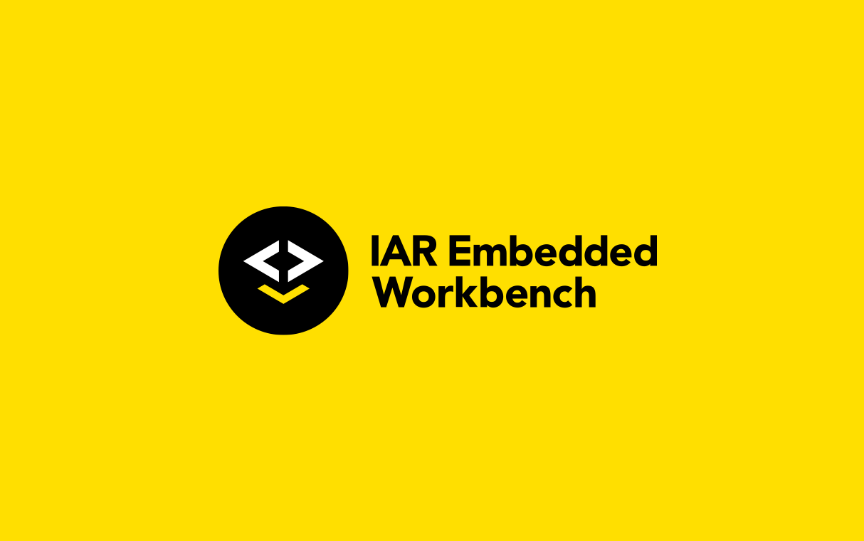 Brand design for IAR Embedded Workbench. Material from the process. Illustration showing the logotype on yellow background together with word mark: IAR Embedded Workbench.