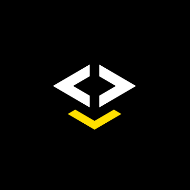 Brand design for IAR Embedded Workbench. Material from the process. Illustration showing the logotype in white and yellow on black background.