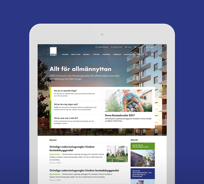 Digital design for SABO website. Winner IDG topp 100. Material from the process. Visual design for Start screen.