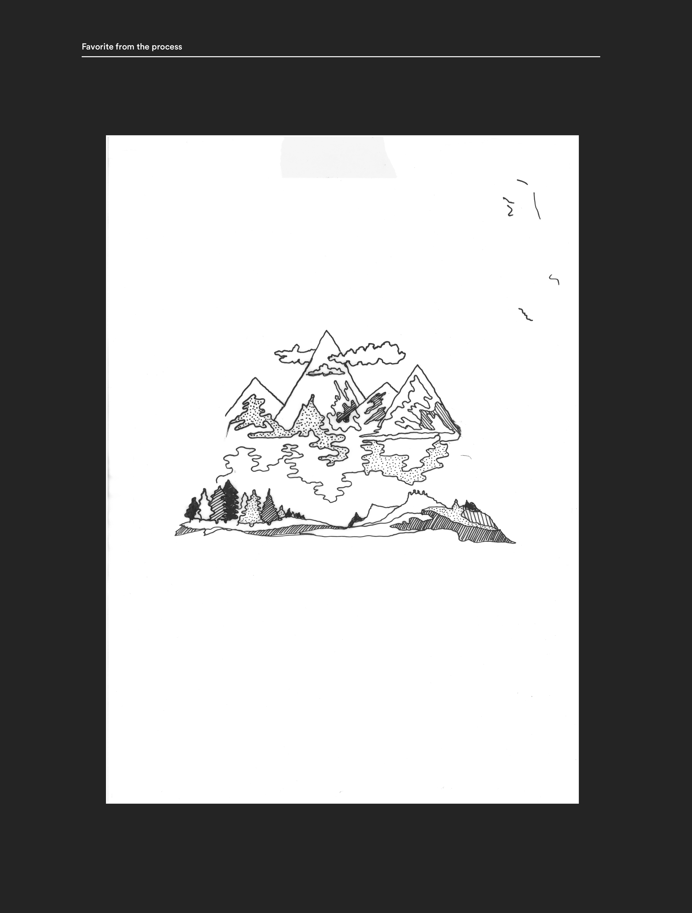 Graphical expressions for Houdini Sportswear. Draft from the process. Nature and mountains drawn with ink on paper.